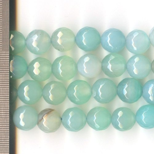 Agate Dyed Aqua Faceted Round 12mm
