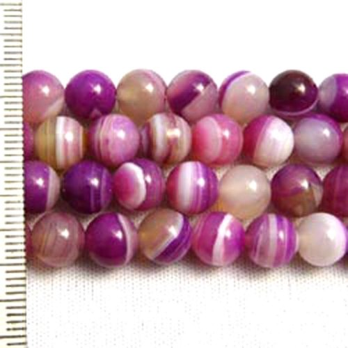 Banded Agate Dyed Fuchsia Round 6mm
