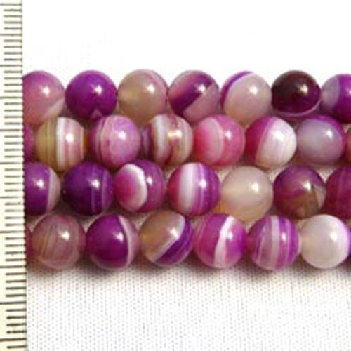 Banded Agate Dyed Fuchsia Round 8mm