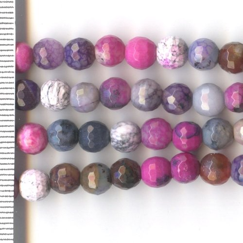 Agate Dyed Pink Faceted Round 6mm
