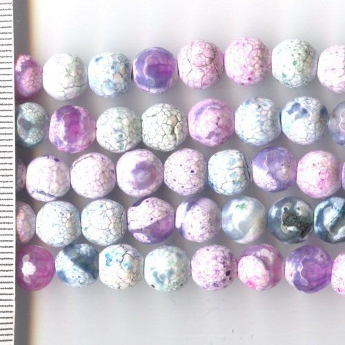 Agate Dyed Pastel Mix Faceted Round 8mm