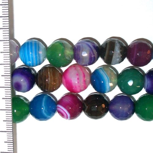 Banded Agate Dyed Multi Coloured Faceted Round 10mm