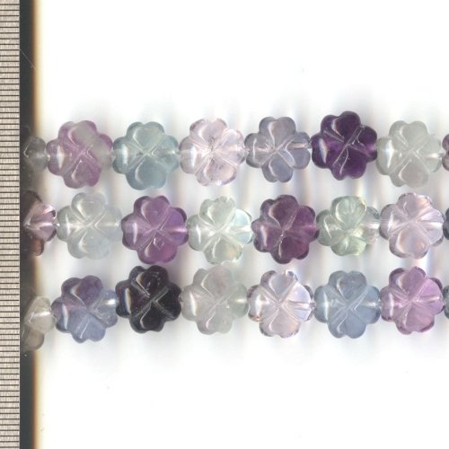 Fluorite Carved Flowers 12mm