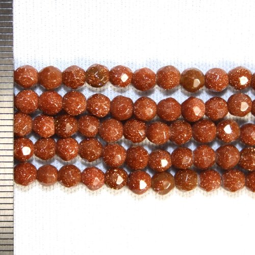 Goldstone Brown Faceted Round 4mm