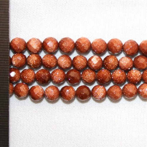 Goldstone Brown Faceted Round 6mm