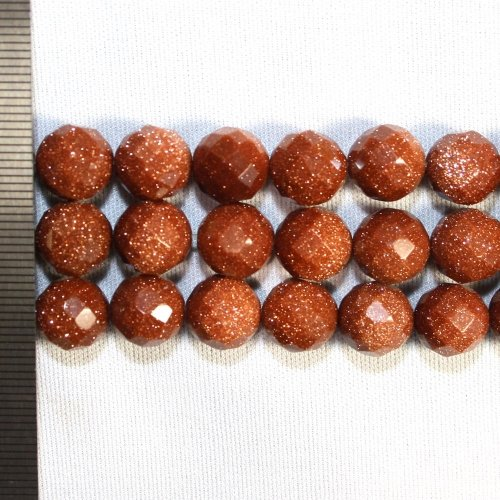 Goldstone Brown Faceted Round 10mm