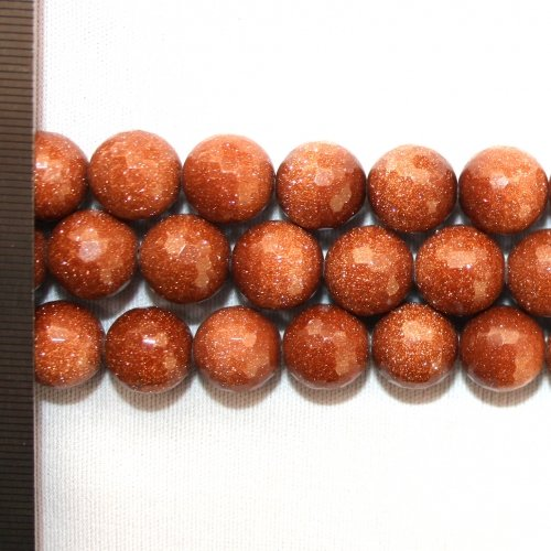 Goldstone Brown Faceted Round 12mm