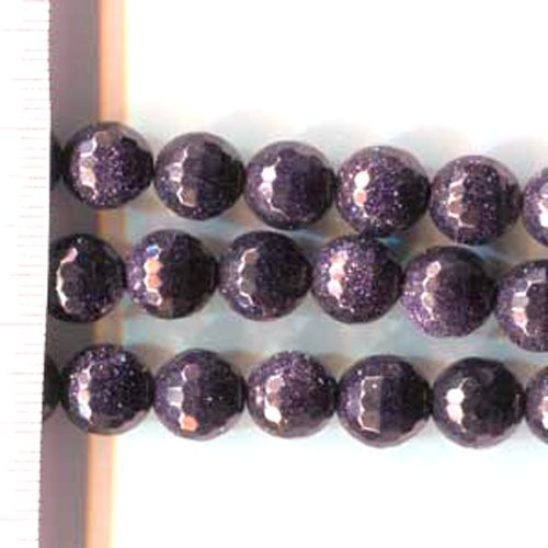Blue Goldstone Faceted Round 10mm