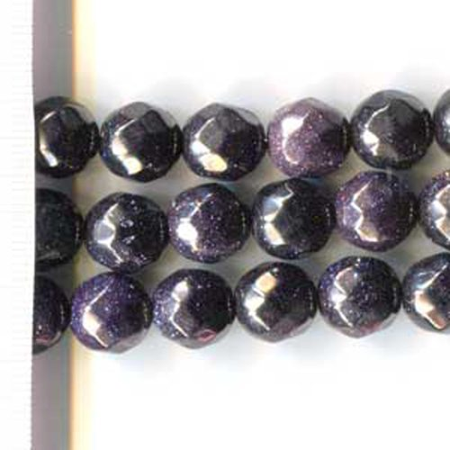 Blue Goldstone Faceted Round 12mm