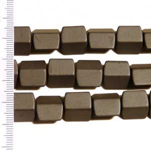 Hematite Frosted 4 Sided Rectangle 12mm