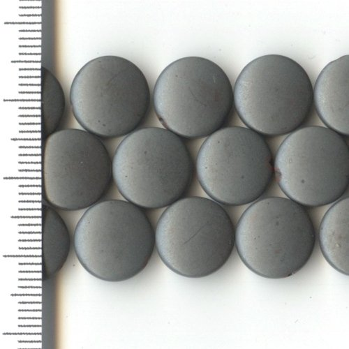 Hematite Frosted Coin 10mm