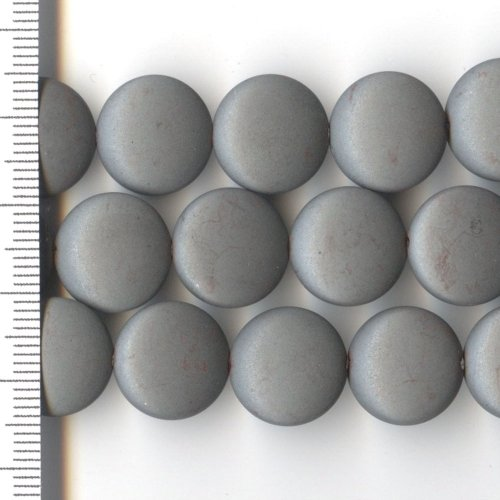 Hematite Frosted Coin 14mm