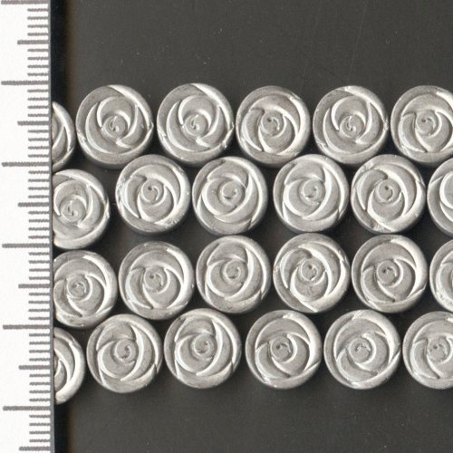Hematite Electroplated Frosted Silver Flower 10mm