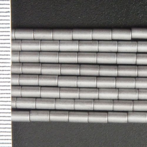 Hematite Electroplated Silver Tubes 3x5mm