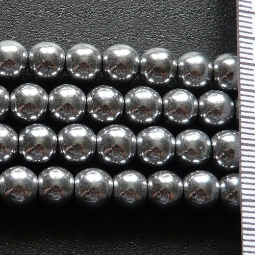 Hematite Electroplated Silver Round 7mm