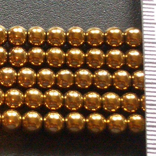 Hematite Electroplated Gold Round 5mm