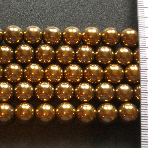 Hematite Electroplated Gold Round 9mm