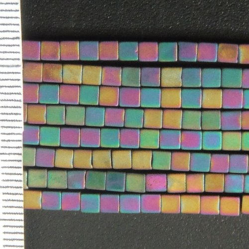 Hematite Electroplated Frosted Multi Cubes 3mm