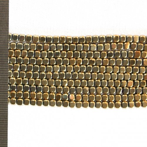 Hematite Electroplated Gold Square 3mm