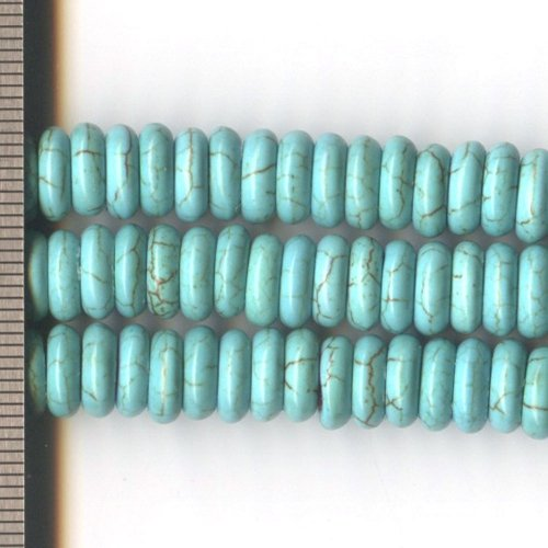 Magnesite Dyed Turquoise Roundel 3x8mm
