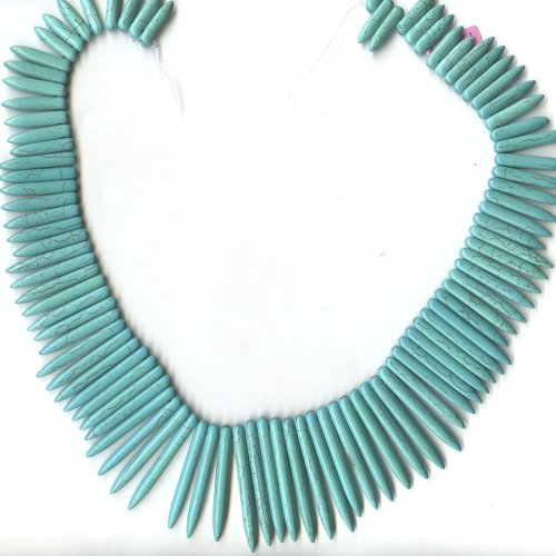 Magnesite Dyed Turquoise Spears Graduated