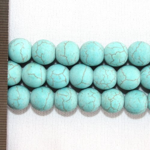 Magnesite Dyed Turquoise Frosted Round 10mm
