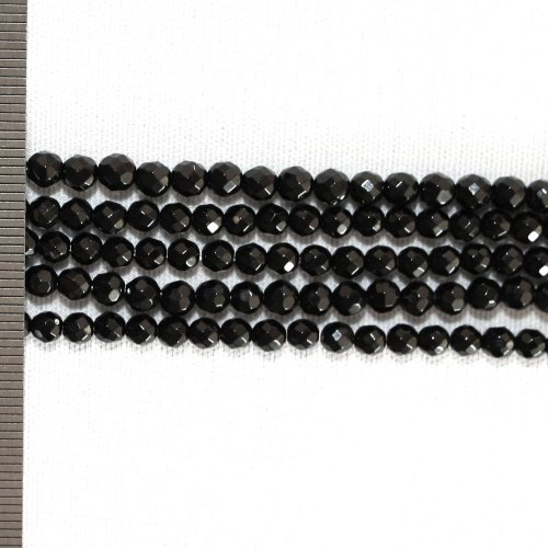 Onyx Faceted Round 4mm
