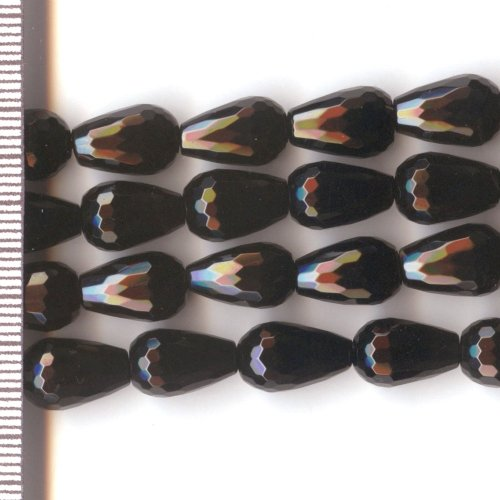 Onyx Faceted Drops 8x12mm