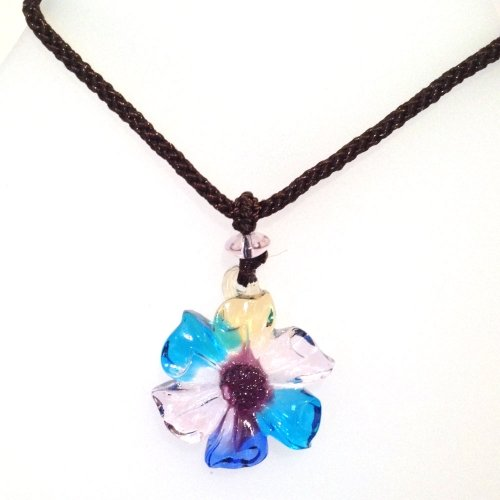 Liuli Crystal Pendant Flower with Adjustable Cord