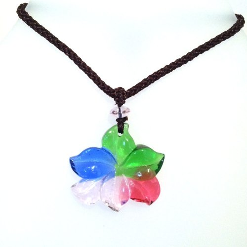 Liuli Crystal Flower Pendant with Adjustable Cord