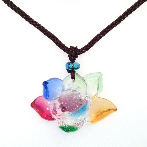 Liuli Crystal Lotus Flower Pendant with Adjustable Cord