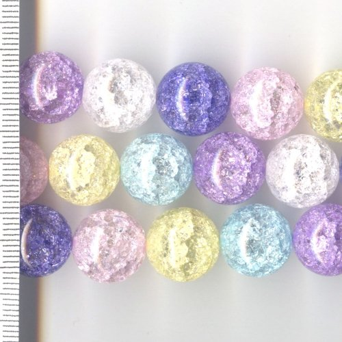 Cracked Rock Crystal Dyed Multi Round 14mm