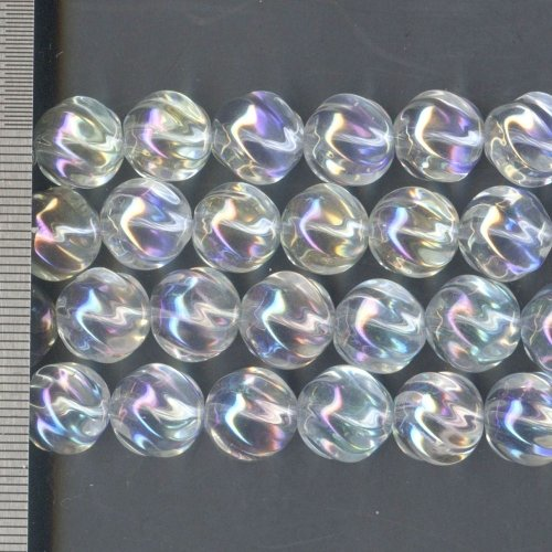 Rock Crystal Electroplated with Aurora Borealis Round with Twist 12mm