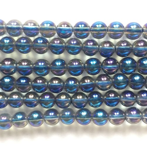 Rock Crystal Electroplated Blue & Purple Round 6mm