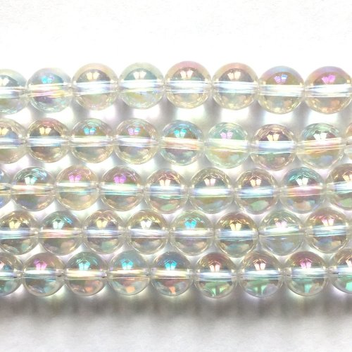 Rock Crystal Electroplated Aurore Borale Round 8mm
