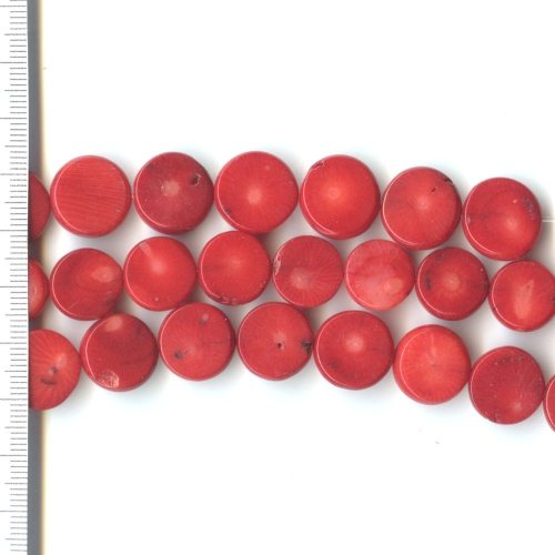 Sea Bamboo Dyed Red Coin 13-15mm