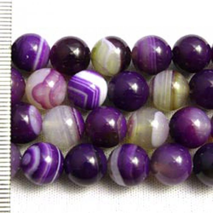 Banded Agate Dyed Purple Round 8mm