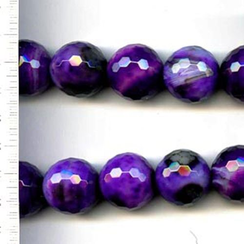 Banded Agate Dyed Purple Faceted Round 12mm