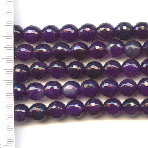 Agate Dyed Purple Faceted Round 8mm