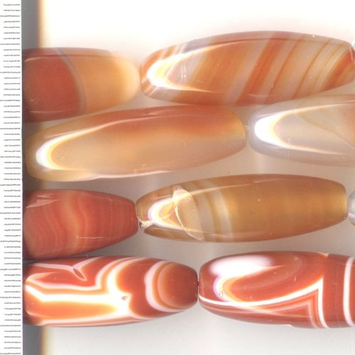 Banded Agate Red/White Rice 15x40mm