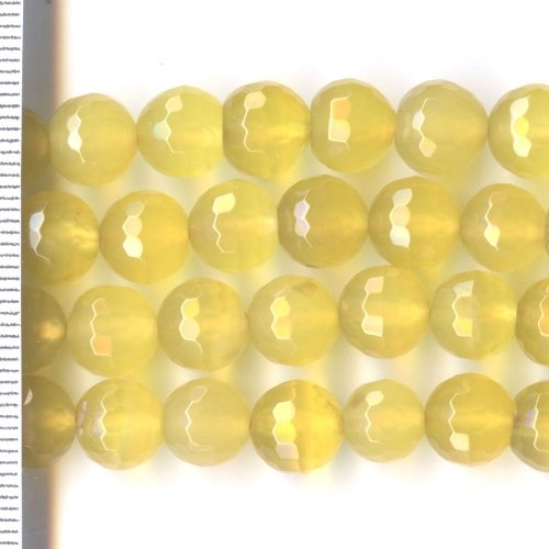 Agate Dyed Yellow Faceted Round 8mm