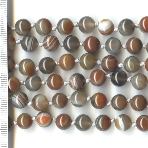 Banded Agate Brown, Grey & White Round 8mm
