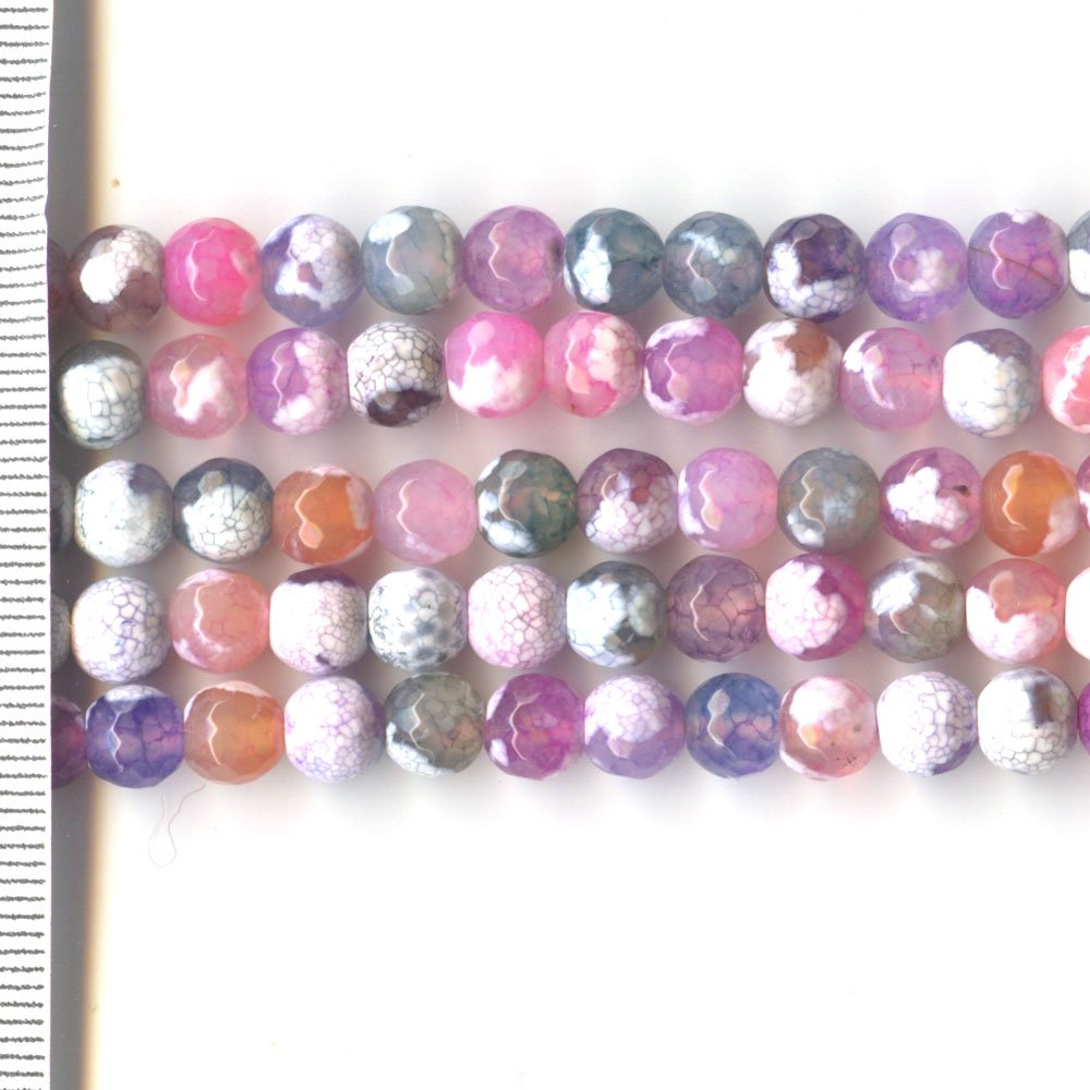 Agate Dyed Pastel Mix Faceted Round 6mm