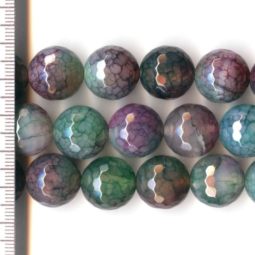 Cracked Agate Dyed Purple, Green & Brown Faceted Round 16mm