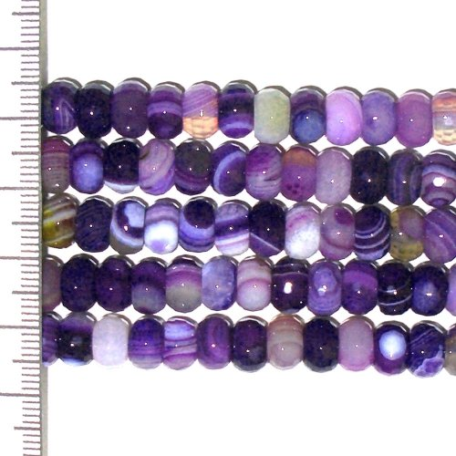 Banded Agate Dyed Purple Faceted Roundel 8x5mm