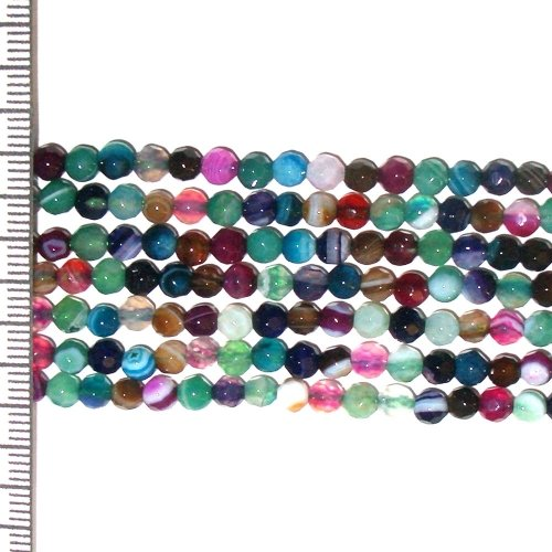Banded Agate Dyed Multi Coloured Faceted Round 4mm
