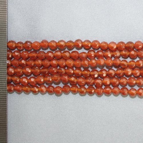 Agate Red Faceted Round 4mm