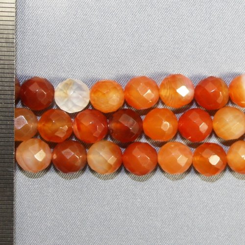 Carnelian Multi Faceted Round 8mm