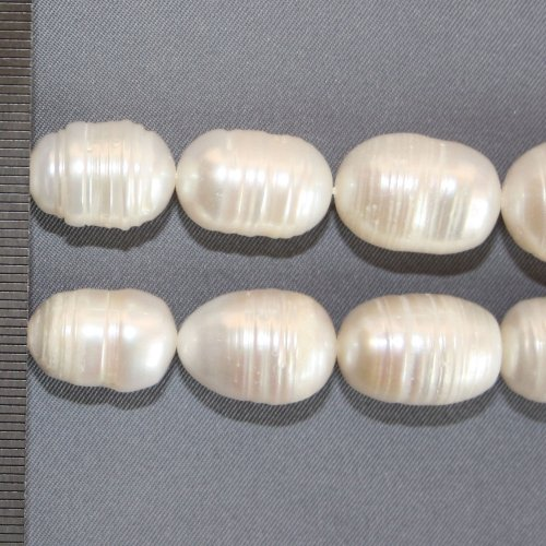 Rice Pearls with Rings White Graduated 12-14mm