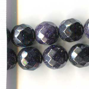 Blue Goldstone Faceted Round 14mm